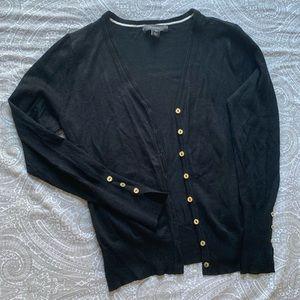 Black & gold button cardigan sweater
